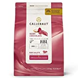 CALLEBAUT Receipe RB1 – Ruby Kuvertüre Callets, chocolate rosa, 47,3 % cacao, 2,5 kg – 1 Pack