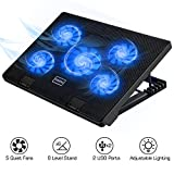 MoKo Laptop Cooler, Notebook Cooling Pad Silent Gaming Laptop Radiator with Adjustable Stand, 5 Fans, Blue LED Lights, Dual USB Ports for 12-17 Inch Laptop - Black