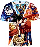 FLYCHEN T-Shirt Colorful Impreso en 3D Dragon Ball para Hombre Super Saiyan Cosplay Wu Camiseta Goku - Goku - XL