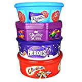 Christmas Chocolate Tubs - 4 PACK - Roses, Heroes, Quality Street AND Celebrations - Nearly 3Kg of chocolate!