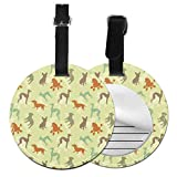 Round Travel Luggage Tags,French Bulldog Greyhound Poodle Terrier Silhouette Pure Breed Animals Canine Type,Leather Baggage Tag