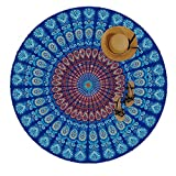Manfâ Indian Feather Mandala Toalla De Playa PortáTil Redonda 150 Cm Resistente A La Arena SúPer Ligeray De Secado RáPido Ideal Para De Tapices